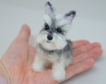 Pet Portrait Sculpture, Needle Felted Mini Schnauzer, Wool Felted Dog, Wool Felted Animal, Blythe Accessory, Snauzer Gifts, Miniature