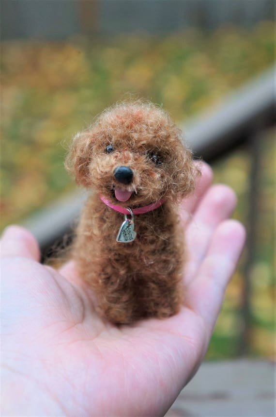 Needle Felted Dog Toy Poodle Red Brown Black Wool Poodle Animal Pet Portrait Mothers Day Gift Blythe Doll Accessory Stocking Stuffer