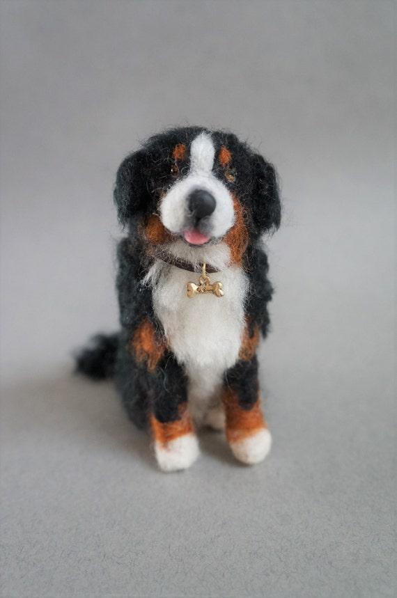 Custom Needle Felted Bernese Mountain Dog Pet Portrait Etsy