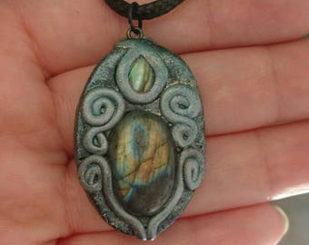 Rainbow Fire Labradorite Gemstone in Polymer Clay Setting with Paua Shell Accent. Pendant Necklace