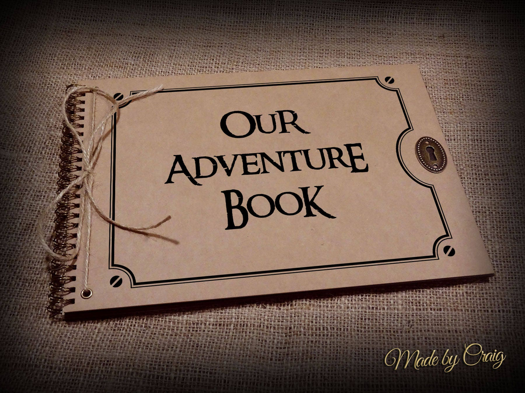 Our Adventure Book, Scrapbook, Photo Album, Memory Book, Disney Up,  Keepsake, Gift Idea, Card Pages, Brown Kraft, Vintage Style
