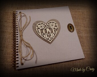 Vintage/Rustic Scrapbook, Photo Album, Guest Book, Wedding/Engagement/Romantic Gift for Her/Him, Birthday/Valentines/Christmas Present
