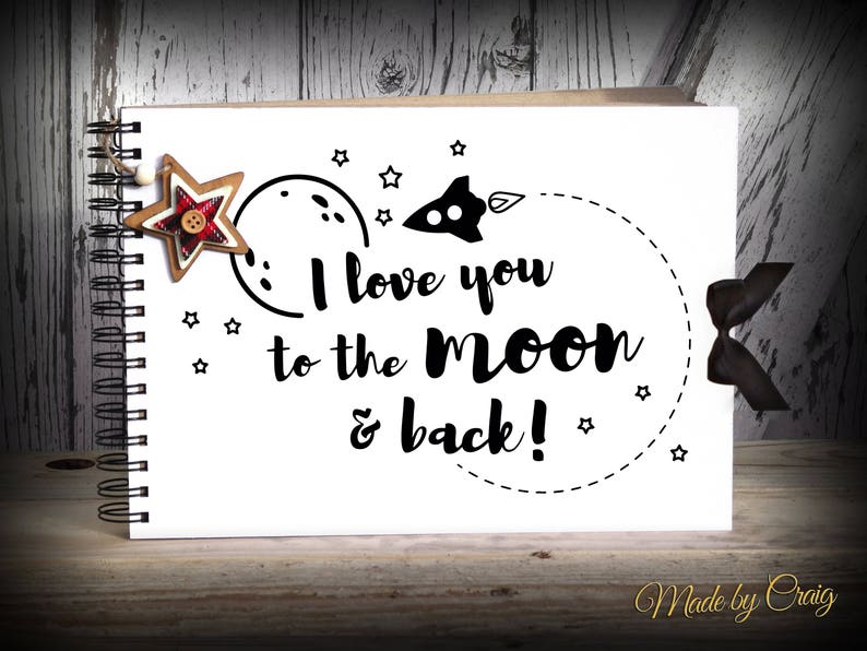 Ribbon Love You to Moon and Back A5 Scrapbook Photo Album Blank White Pages