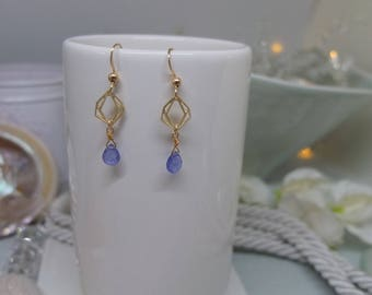 Gold filled earwires with 14ct gold vermeil small geometric diamond charms and tanzanite briolettes