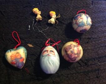 vintage ornaments christmas ornaments handmade ornaments 1994 painted wood ornaments egg plastic christmas balls resin ornaments - Plastic Christmas Balls