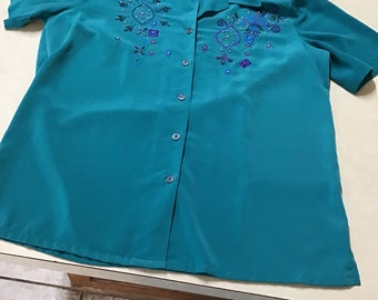 610d8cd6a985a9 Vintage Koret women's blouse shirt size M green with beading design button  up short sleeve emerald 100% polyester silk like feel Indonesia