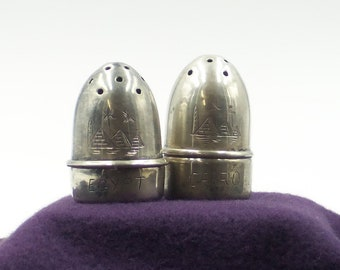 Sterling Silver Cairo Egypt Mini Salt and Pepper Shaker Set