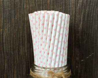 100 White with Pink Dot Straws, Baby Shower, Birthday Supply, Picnic Supply, Free Shipping!