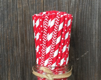 75 Red Stripe, Chevron, and Polka Dot Straw Combo, Valentine's Day, Birthday Party, Picnic Supply, 4th of July