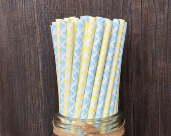 100 Light Blue and Yellow Damask Straws - Birthday Bridal or Baby Shower, Wedding Supply, Free Shipping!