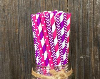 100 Pink and Purple Stripe, Chevron and Polka Dot Paper Straws  -- Birthday, Princess, Baby Shower Supply-- Free Shipping!