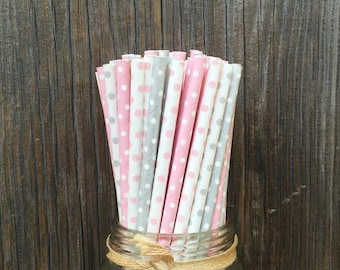 Pink Paper Straws, 100 Silver Straws, Silver Polka Dot, Pink and Silver, Birthday Party, Shower, Wedding Supply,  Free Shipping