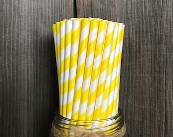 100 Yellow Stripe Paper Straws, Birthday Party Supply, Baby Shower, Wedding Supplies, Bridal Shower, Picnic Paper Goods, Cake Pop Sticks
