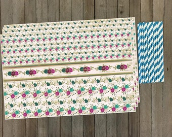 24 Vintage Look Floral Paper Placemats and Stripe Paper Straws- Disposable Placemats- Teal and Rose Party Supply- 24 Placemats/25 Straws
