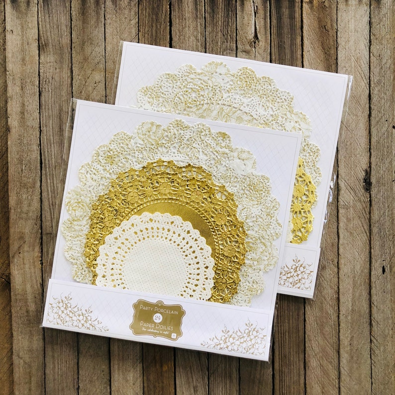 Tea 48 Gold and White Paper Doilies Cake Dessert Supply Bridal Shower Supply Wedding