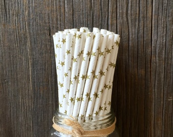 100 Gold Star Paper Drinking Straws, Free Shipping!