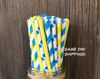 100 Blue and Yellow Stripe, Polka Dot and Chevron Drinking Straws-Party Supply-Birthday, Free Shipping!