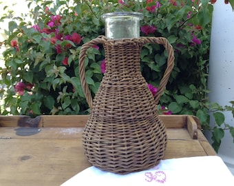 Vintage Willow Wrapped Glass Carafe or Vase