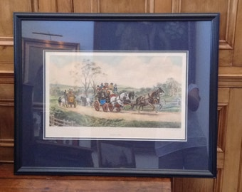 """Vintage English Colored Lithograph Print, as Engraved by 19th Century British Artist, George Hunt, Titled """"Behind Time"""""""