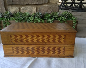 """Antique Marquetry Inlaid Handmade Wooden Box, Artist Signed """"June Justus"""" 1906, Velvet Lined, Lidded"""