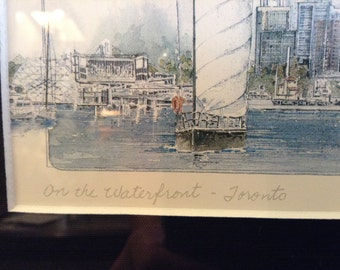 Vintage Watercolor by Gerard Paraghamian, On the Waterfront - Toronto, Canada, Signed