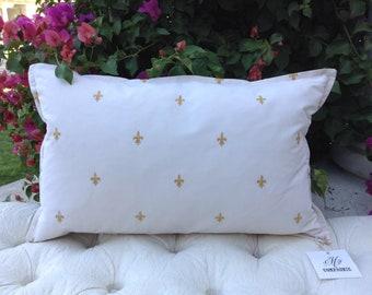 Designer Embroidered French Fleur De Lis Gold & Cream Decorative Pillow