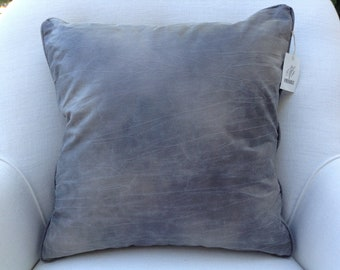 Gray Bomber Leather Look Pillow, Fabric by Kravet