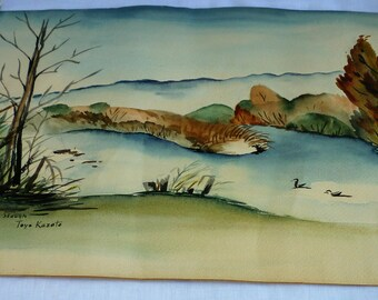 Japanese Internment Camp titled Colorado Slough in 1940's by Toyo Kazato 21x14 Inch Landscape Watercolor done at