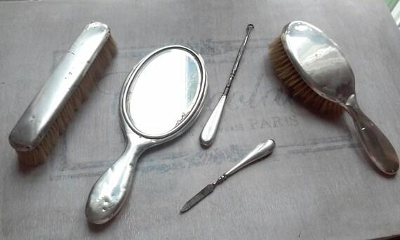 Set Spazzola Specchio.Antico Set Toeletta In Argento Spazzole Specchio Lima Gancio Bottoni Vanity Set
