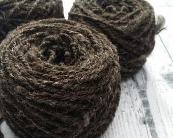 Handspun Dark Jacob Wool Yarn, dk Weight, 50g, 1.8 ounces