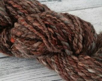 Handspun yarn, Handpainted with Madder, Logwood, Himalayan Rhubarb, Saxon Blue ( liquid indigo) 90g