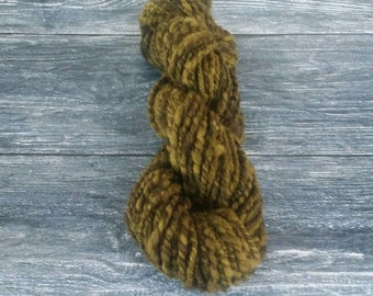 Weld dyed Handspun yarn, Iron dye pot as modifier 61g