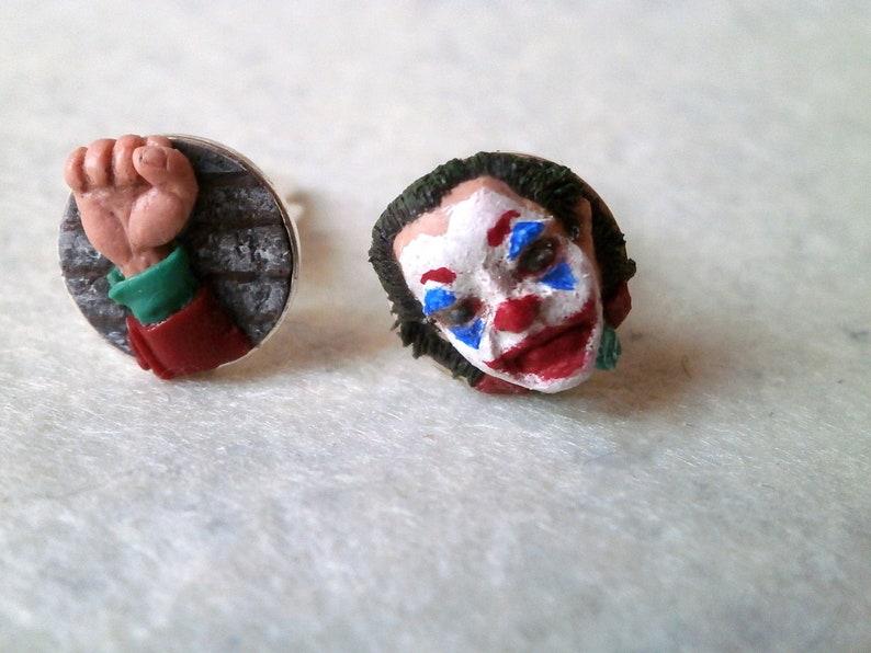 villain cufflinks Joker-type clown cufflinks polymer clay sculpted accessories cinema accessories movies jewelry joker cufflinks