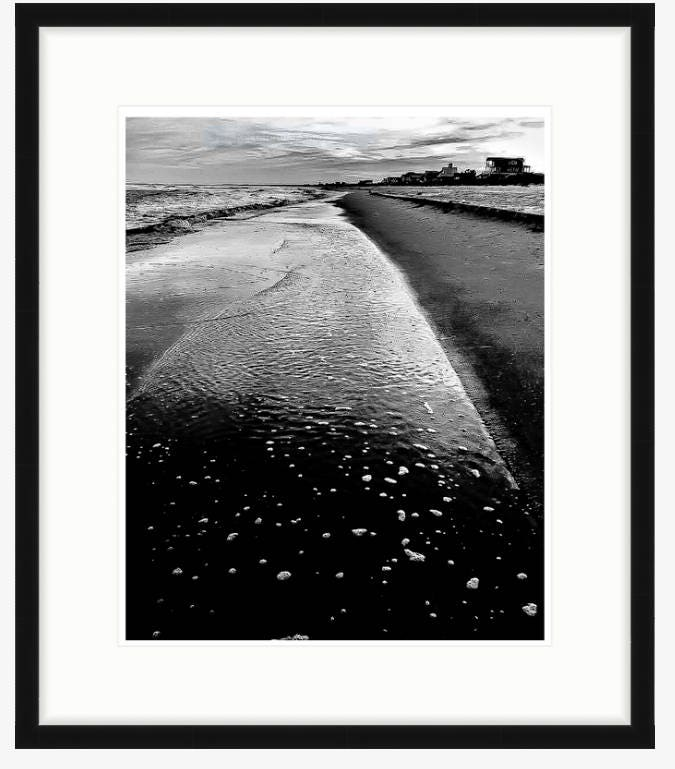 Beach Art Black And White Photography Tide Pool Sunset In Florida Matted Framed Shipped To Your Door