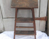 Two foot folding ladder, wood step ladder, mid century 40s 50s, rustic primitive plant stand, folding, farmhouse decor