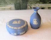 Pair of Wedgewood Jasperware lidded bowl box bud vase, blue white embossed designs, scalloped ornate decorative, mid century England