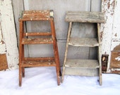 Vintage wooden step ladder, 2 foot ladder, natural brown wood, gray, folding ladder, rustic distressed, plant stand, 50s, 70s