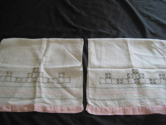 Pair of white cotton linen tea towels, embroidered kitchen towels, pink  trim, dainty roses, mid century, 1950s, shabby cottage chic decor