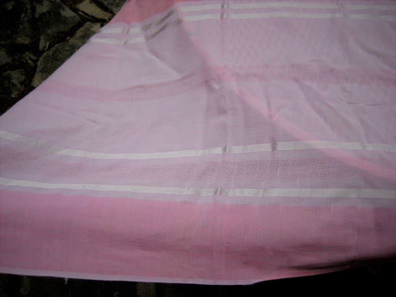 50 x 62 inches 1980s 1970s shabby cottage chic decor rectangle tablecloth Pink striped tablecloth