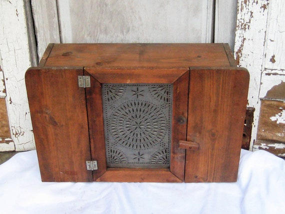 Antique Wood Metal Wall Cabinet Pie Safe Punched Tin Cabinet Etsy
