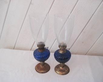 Cobalt blue lanterns, pair of glass kerosene lanterns, rustic, distressed, pair of lanterns, mid century, 50s, vintage oil lamp
