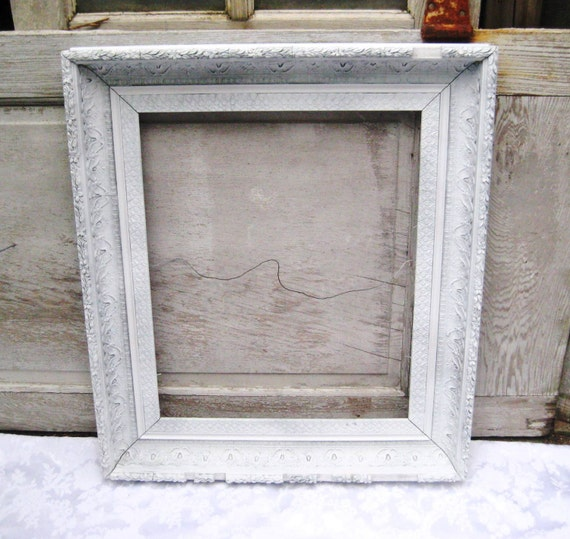Large white antique picture frame painted frame gesso frame
