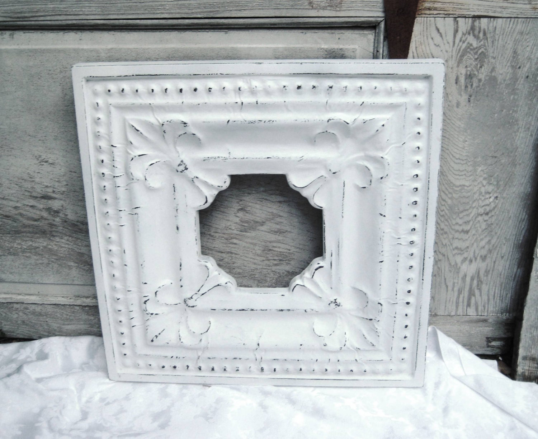 white distressed picture frame wide decorative frame large etsy. Black Bedroom Furniture Sets. Home Design Ideas