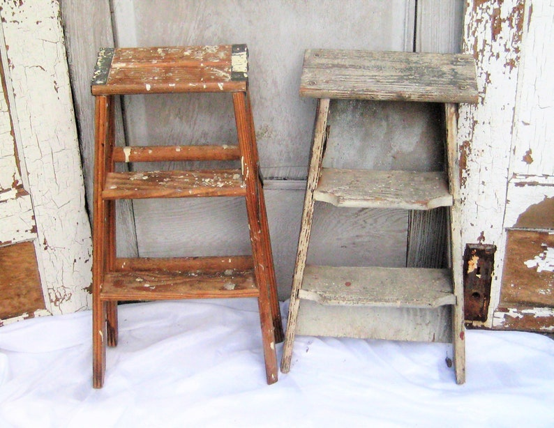 Enjoyable Vintage Wooden Step Ladder 2 Foot Ladder Natural Brown Wood Gray Folding Ladder Rustic Distressed Plant Stand 50S 70S Pdpeps Interior Chair Design Pdpepsorg