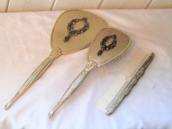 Hand Held Mirror Brush Comb Set Silver Black Ornate Metal Etsy