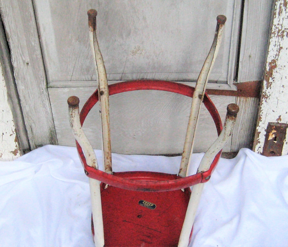 Antique metal red and white sitting bar stool, tall counter stool, rustic distressed, rusty metal, Costco, made in USA, mid century, 1950s