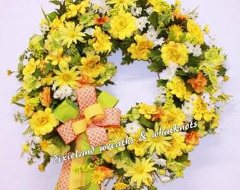 Floral Wreath, Floral Grapevine Wreath, Spring Wreath, Summer Wreath, Yellow Floral Wreath, Flower Wreath, Front Door Wreath
