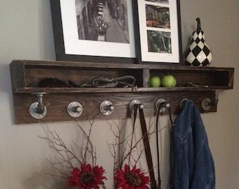 Naomi Wood Rustic Industrial Pipe Coat Rack/Shelf Combo 46W X 5.5D X 10H