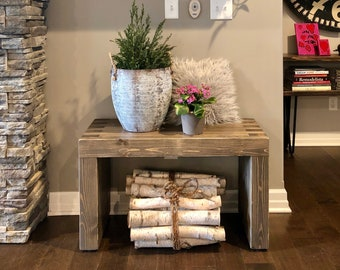 Penelope Waterfall Bench // Entryway Bench // Modern Rustic Bench // Dining Bench //Livingroom Bench//Box Joint Bench