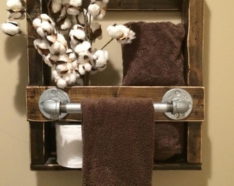 Janelle Rustic Industrial Pipe 1/2 Bath Towel Rack 17W X 5D X 19H